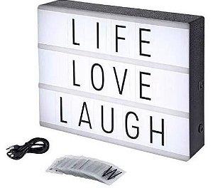 Luminária Led Lightbox Letreiro Quadro Cinema - 30 x 22cm