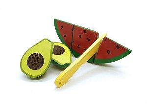 Kit Fruta em Madeira com Corte - Melancia e Abacate - 3 peças