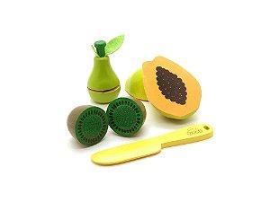 Kit Fruta em Madeira com Corte - Kiwi, Mamão e Pera - 4 peças