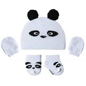 Kit Maternidade Recém Nascido Panda Branca (Touca, Meias e Luvas)