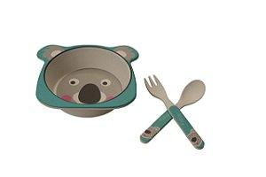 Kit Alimentação Prato e Talher Linha Eco Girotondo Baby - Coala