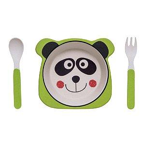 Kit Alimentação Prato e Talher Linha Eco Girotondo Baby - Panda