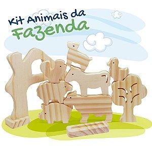 Kit Animais da Fazenda em Madeira - 10 peças