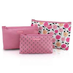 Kit de Necessaire de 3 Peças PINK LOVER - Rosa
