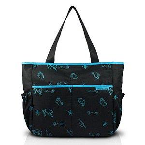 Bolsa de Bebê Estampada  MAMA & ME - Preto/Azul