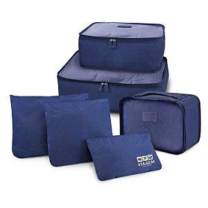 Kit Organizador de Malas de 6 Peças VIAGEM - Azul