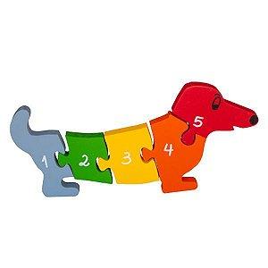Quebra Cabeça Cachorro com Vogais e Números - 1 a 5
