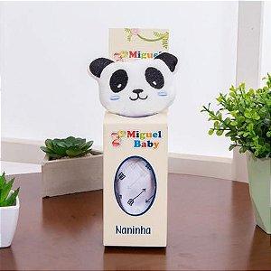 Naninha de bichinhos com prendedor de chupeta - Panda Azul