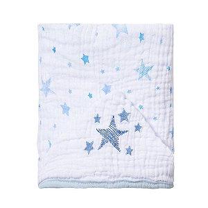 Toalha de banho de fralda com capuz bordado - Celeste Azul