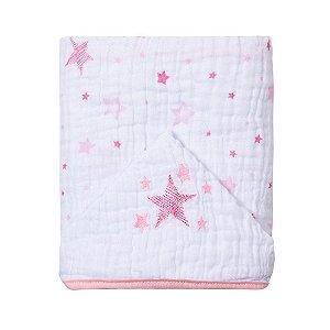 Toalha de banho de fralda com capuz bordado - Celeste Rosa