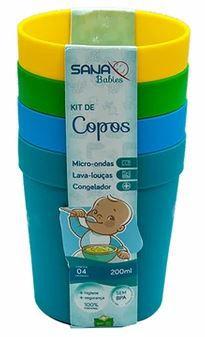 Kit com 4 copos infantil 200ml - Azul
