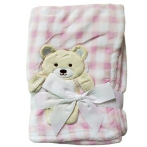 Manta cobertor para bebê - Ursinho Xadrez Rosa