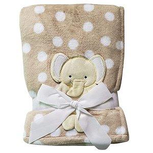 Manta cobertor para bebê - Elefantinho Poá Bege