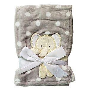 Manta cobertor para bebê - Elefantinho Poá Cinza