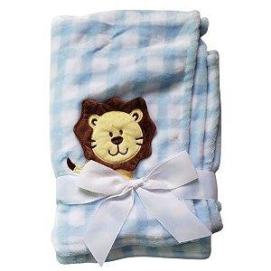 Manta cobertor para bebê - Leão Xadrez Azul