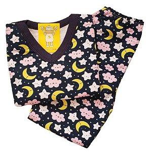 Pijama Infantil Flanelado - 4 ao 8 - Noite Encantada