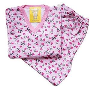 Pijama Infantil Flanelado - 4 ao 8 - Coroas