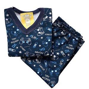 Pijama Infantil Flanelado - 1 ao 3 - Gamer