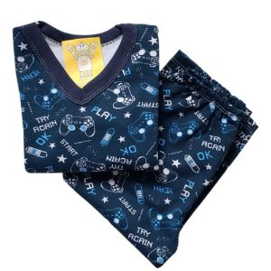 Pijama Infantil Flanelado - 4 ao 8 - Gamer