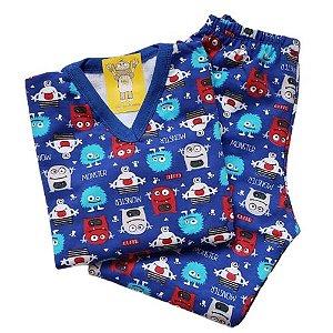Pijama Infantil Flanelado - 4 ao 8 - Monsters