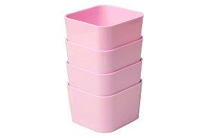 Kit com 4 organizadores porta objetos pequeno - Rosa Pastel