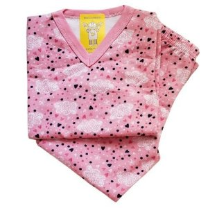 Pijama Infantil Flanelado - 1 ao 3 - Chuva de Amor Rosa