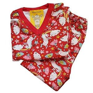 Pijama Infantil Flanelado - 1 ao 3 - Unicórnio