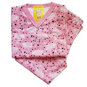 Pijama Infantil Flanelado - 4 ao 8 - Chuva de Amor Rosa