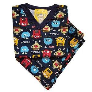 Pijama Infantil Flanelado - 1 ao 3 - Monsters Marinho