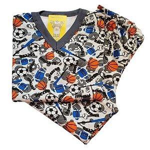 Pijama Infantil Flanelado - 4 ao 8 - Esportes