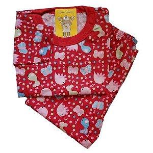 Pijama Infantil Malha 100% Algodão - 1 ao 3 - Passarinho
