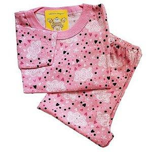 Pijama Infantil Malha 100% Algodão - 1 ao 3 - Chuva de Amor Rosa
