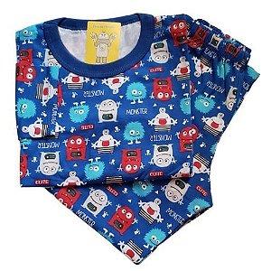 Pijama Infantil Malha 100% Algodão - 4 ao 8 - Monsters