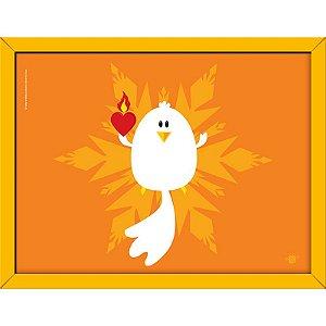 Quadro Divino Espírito Santo com Fundo em Tons de Amarelo 40x30 - Coisa de Santo