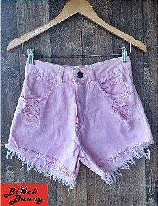 Shorts Jeans Rosa - Cintura Alta
