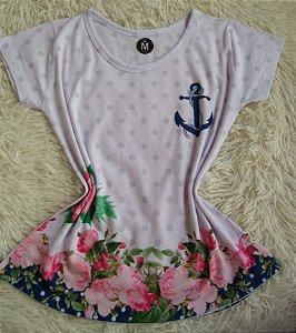 T Shirt Feminina no Atacado Âncora e Flores