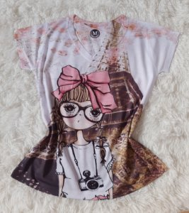 T-Shirt Feminina no Atacado Girl Paris