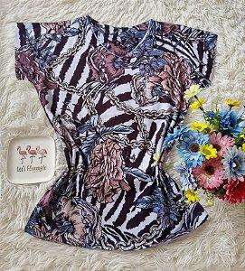 T-Shirt Feminina no Atacado Floral Abstrata