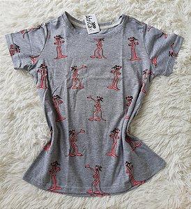 T-shirt feminino no atacado pantera -de-rosa cinza