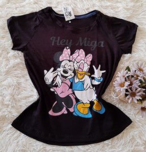 TShirt Feminina no Atacado Minnie e Margarida Hey Miga