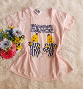 T-Shirt Feminina no Atacado Banana Dance Rosa