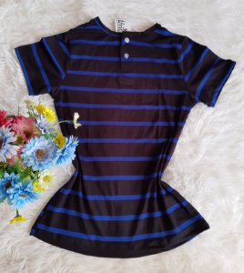 TShirt Básica com Botões Listrada Preto e Azul