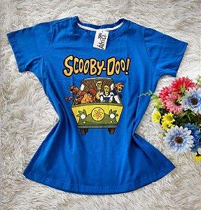 Tee Feminina No Atacado Scooby-Doo Fundo Azul