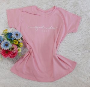 T-Shirt Feminina  Good Vibes Rosa