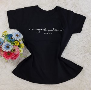 T-Shirt Feminina  Good Vibes Preta