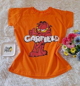 T-Shirt Feminina Garfield Fundo Laranja