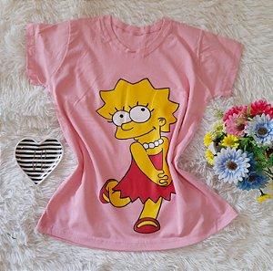 T-Shirt Feminina Lisa Fundo Rosa