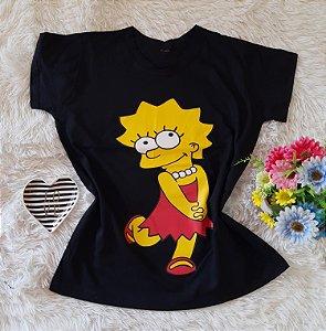 T-Shirt Feminina Lisa Fundo preta
