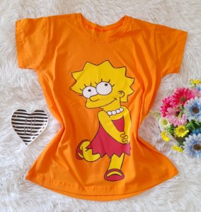 T-Shirt Feminina Lisa Fundo Laranja