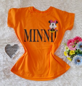 T-Shirt Feminina Minnie Fundo  Laranja